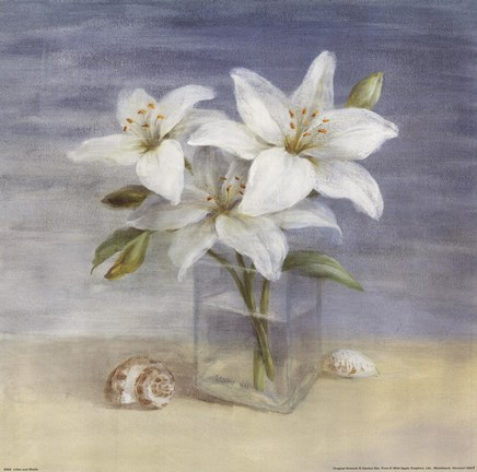 Framed Lilies and Shells Print