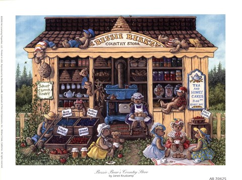 Framed Bessie Bear's Country Store Print