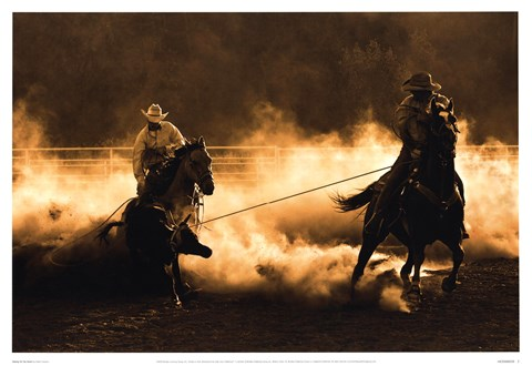Framed Roping on the Ranch Print