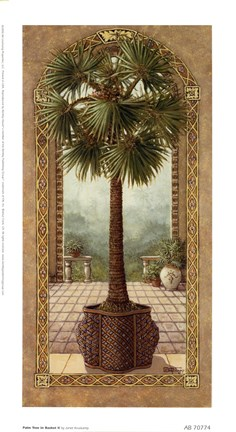 Framed Palm Tree In Basket ll Print