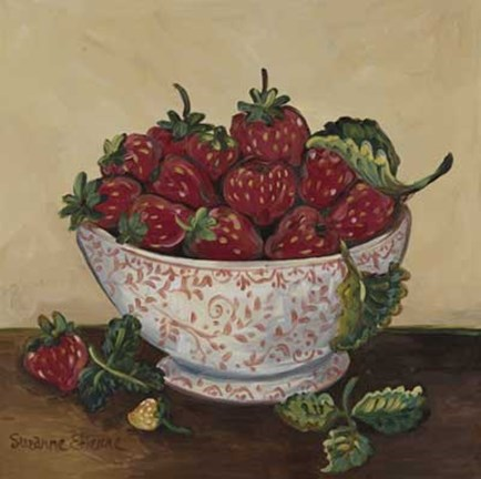 Framed Bowl of Strawberries Print