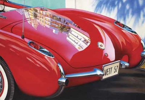 Framed 1957 Corvette Miami Beach Print