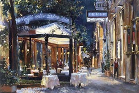 Framed Cafe di Paris Via Veneto Print