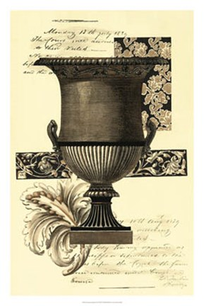 Framed Transitional Sepia Urn I Print