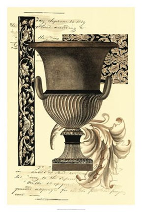 Framed Transitional Sepia Urn II Print