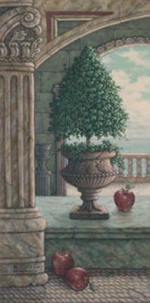 Framed Apple and Topiary Print