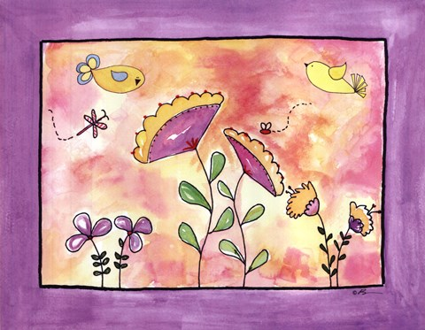 Framed Purple Flower Land Print