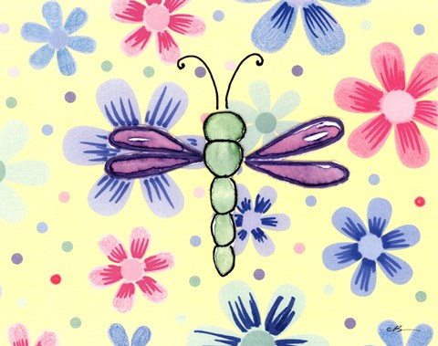 Framed Funky Flower Dragonfly Print
