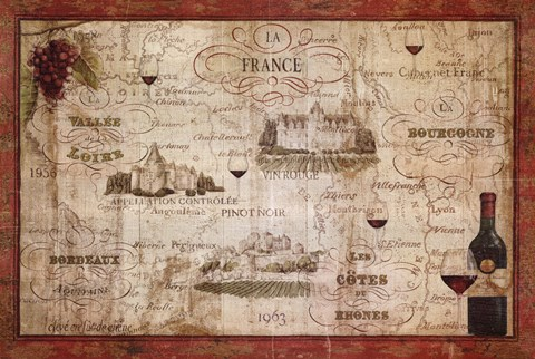 Framed Wine Map Print