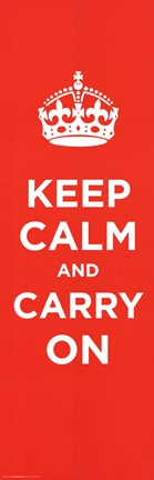 Framed Keep Calm And Carry On Tall Print