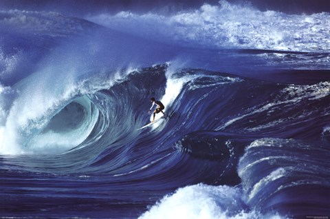 Framed Big Wave Surfing - Waimea Shorebreak Print