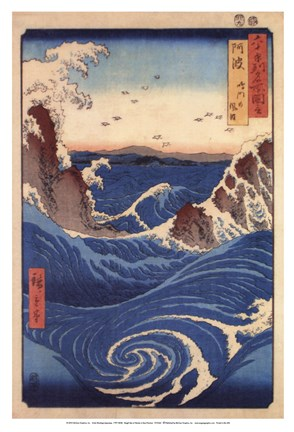 Framed Rough Sea at Naruto in Awa Province Print