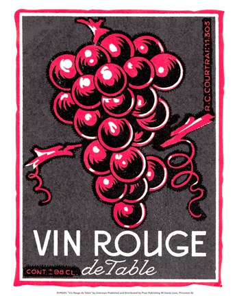 Framed Vin Rouge de Table Print