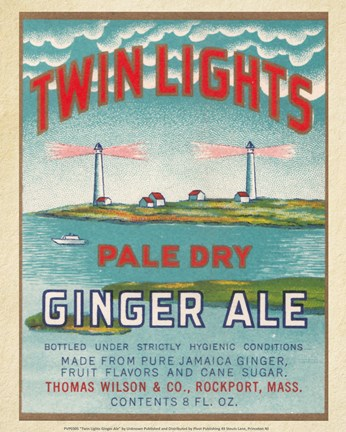 Framed Twin Lights Ginger Ale Print