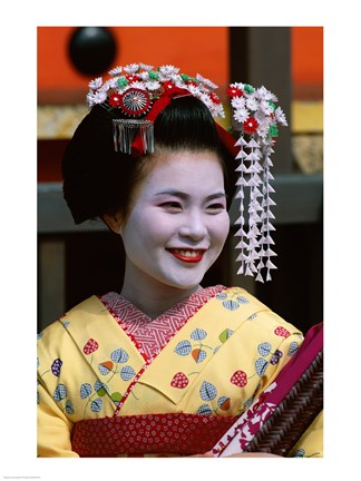 Japanese Geisha with Flowers in Her Hair