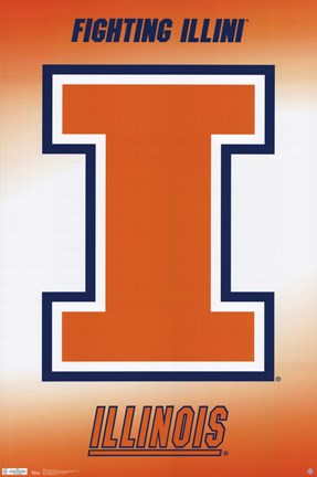Framed University of Illinois - Logo 11 Print