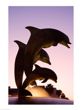 Framed Dolphin Fountain on Stearns Wharf, Santa Barbara Harbor, California, USA Vertical Print