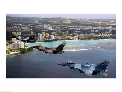Framed Three F-16 Fighting Falcons fly in formation over Tumon Bay, Guam Print