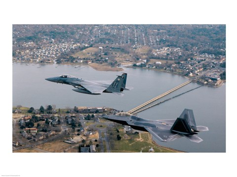 Framed F/A-22 Raptor F-15 Eagle US Air Force Virginia, USA Print