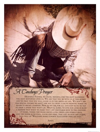 Framed Cowboy's Prayer Print