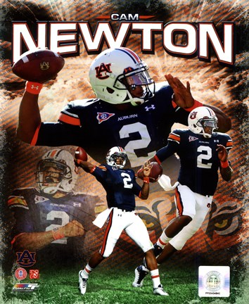 Framed Cam Newton 2011 Auburn University Portrait Plus Print