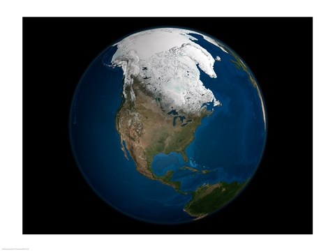 Framed Global view over North America with Arctic sea ice shown on April 8, 2006 Print
