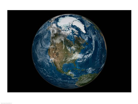 Framed Satellite view of the Earth with the full Arctic region visible on September 21, 2005 Print