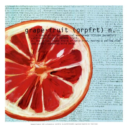 Framed Grapefruit text - mini Print