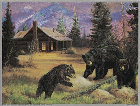 Framed Bears on Logs Print