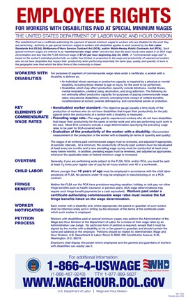 Framed Employee Rights for Workers with Disabilities Minimum Wage 2012 Print