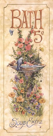 Framed Bath (Bird bath) Print