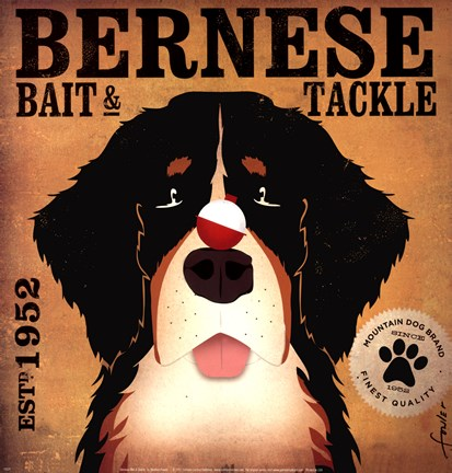 Framed Bernese Bait & Tackle Print