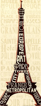 Framed Paris City Words I Print