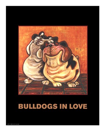 Framed Bulldogs in Love Print