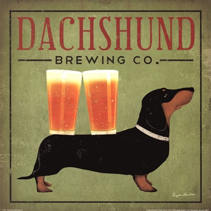 Framed Dachsund Brewing Co. Print