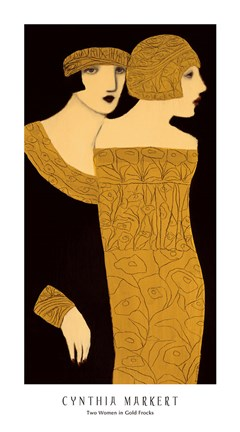 Framed Two Women in Gold Frocks Print