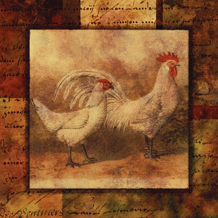 Framed Hen and Rooster I Print