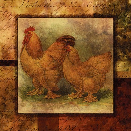 Framed Hen and Rooster II Print
