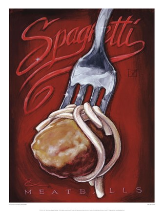 Framed Spaghetti and Meatballs Print