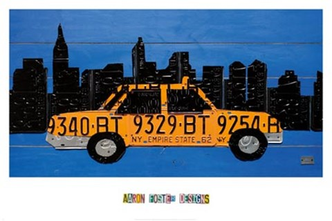 Framed NYC Taxi Cab Print