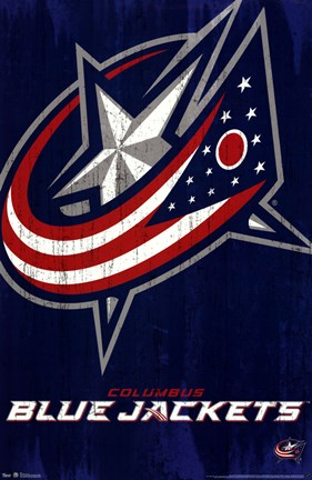 Framed Blue Jackets - Logo 13 Print