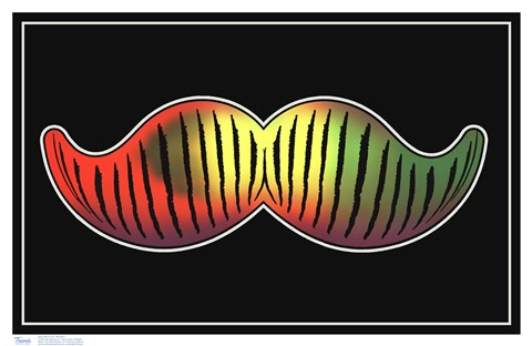 Framed Black Light - Mustache Print