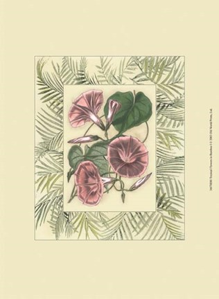 Framed Tropical Flowers in Bamboo I Print