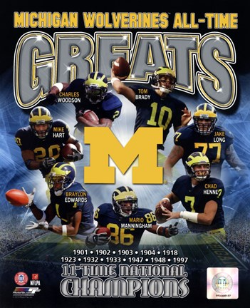 Framed University of Michigan Wolverines All Time Greats Composite Print