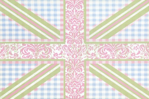 Framed Union Jack, Blue, Green and Pink Print