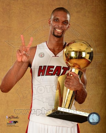 Framed Chris Bosh with the NBA Championship Trophy Game 7 of the 2013 NBA Finals Print