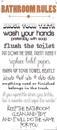 Framed Bathroom Rules Print