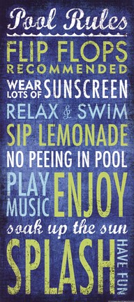 Framed Pool Rules Print