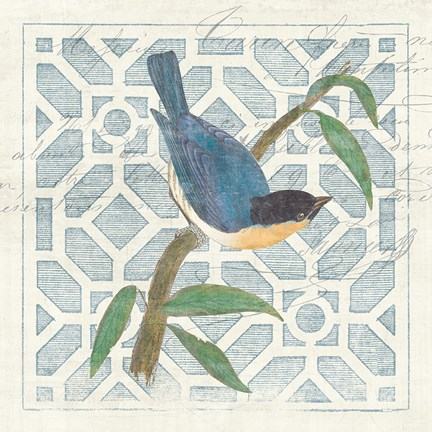 Framed Monument Etching Tile I Blue Bird Print