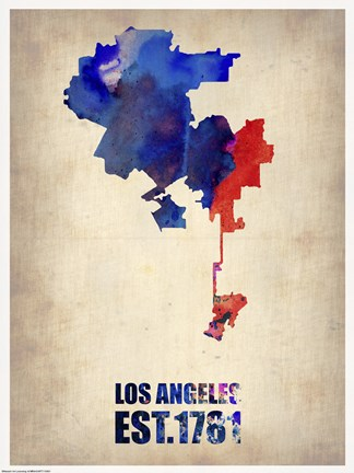 Framed Los Angeles Watercolor Map I Print